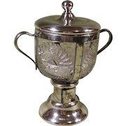 1909 Alaska Yukon Pacific Expo. Sugar Bowl with Dispenser, Silverplate and Glass