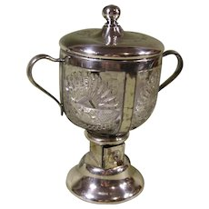1909 Alaska Yukon Pacific Expo. Sugar Bowl with Dispenser, Silverplate and Glass