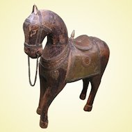 circa 1900 Wooden Horse from India, with Brass and Copper Elements