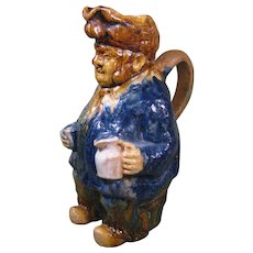 19th Century Toby Jug, Multicolor Drip Glaze, Red Earthenware