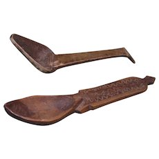 Two 18th Century, or 19th Century, Hand Carved Wooden Spoons, with Designs