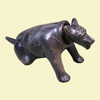 Western Mexico Colima Blackware Pottery Dog Nodder, Incised Designs