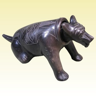 Western Mexico Colima Blackware Pottery Dog Nodder, Incised Designs