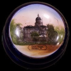 Eureka, Ill Court House Souvenir Dish with Lid ~ Made in Germany ~Early 1900s