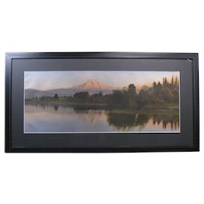c. 1917 Hand Tinted Photograph, Mt. Hood by Clarence Winter, Framed