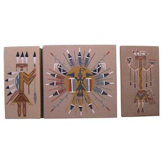 Three Vintage Navajo Sand Paintings, Signed with Inscription - Red Tag Sale Item