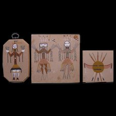 Three Small Vintage Navajo Sand Paintings, Signed with Inscriptions - Red Tag Sale Item