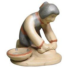 Vintage Jemez Pueblo Pottery Figure - Breadmaker by Marie G. Romero