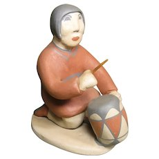 Vintage Jemez Pueblo Pottery Figure - Drummer by Marie G. Romero