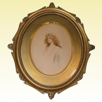 """""""Gibson Girl"""" Watercolor in Ornate Victorian Style Frame, Signed, Dated 1903"""