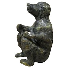 """Vintage African Carved Stone Baboon, Signed, 6"""" Tall"""