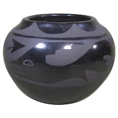 Santa Clara Black on Black Pot by Santanita Suazo, Avanyu & Rain Clouds Design