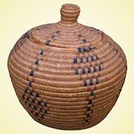 Large Inuit Basket, Alternating Diamond Design, Early 1900s