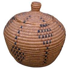 Large Eskimo Basket, Alternating Diamond Design, Early 1900s