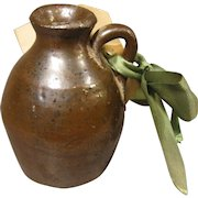 "c. 1900 Brown Saltglaze Mini Jug with Tag - Gift for ""Father of the Bride"", Poem"
