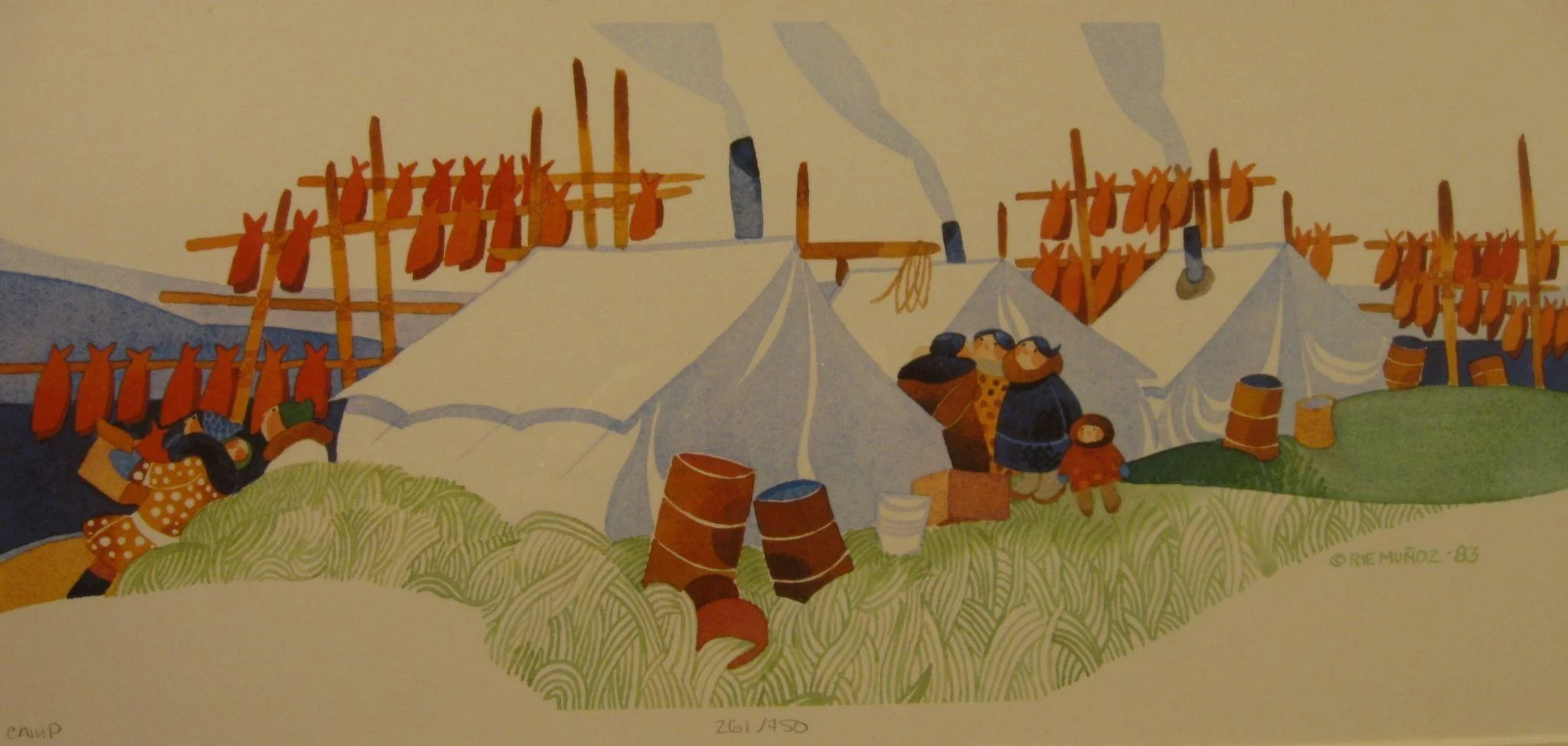 Rie Munoz 1984 Eskimo Print Quot Fish Camp Quot Signed Numbered