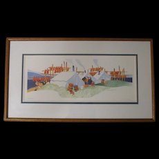 """Rie Munoz 1984 Eskimo Print """"FISH CAMP"""", Signed/Numbered 261/750, Framed and Matted"""