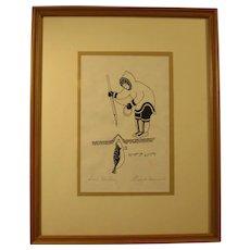 """Limited Edition Eskimo Print """"Seal Hunter"""", Signed """"Enook Manomie"""", Vintage, Framed"""