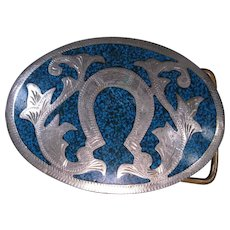 Vintage Western Belt Buckle, Alpaca Mexico, Oval with Horseshoe