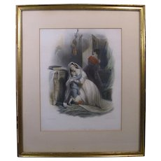 """19th Century Steel Engraving """"A Story of the Woods"""", W. Perring, Engraved by W.H. Egleton"""