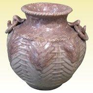 Japanese Art Pottery Vase, Basketweave Pattern, Ring Handles, Mid-Century
