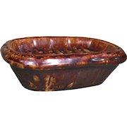 Yellow Ware Rockingham Soap Dish, 19th Century/Early 1900s