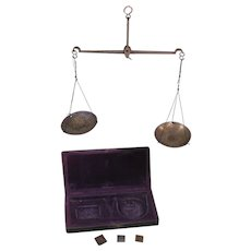 U.S. Civil War Period Apothecary Scale, Federal Eagle on Box Lid, Drachm Weights