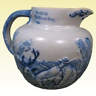 White's Utica Stoneware Pitcher, Deer & Hunters, German Saying, Late 1800s