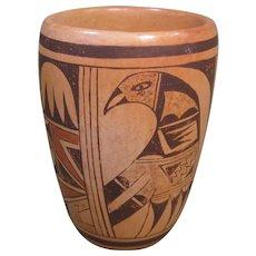 Hopi Polychrome Cylinder Vase, Pottery, Bird Motif, Signed
