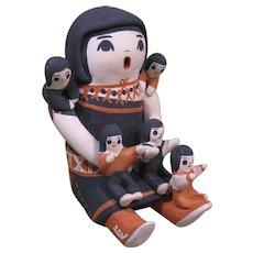 """Cochiti Pueblo Storyteller with Five Children, Marked """"MFH"""""""