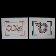 Two Northwest Coast Embossed Card Prints, by Marvin Oliver, with Mats