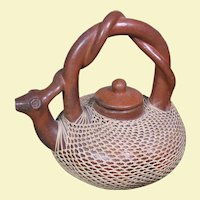 Vintage Bali, Indonesia Redware Pottery Teapot, Snake Spout & Handle, Basketry Overlay