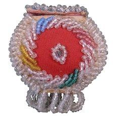 c. 1900 Small Iroquois Beadwork Trinket Box, or Box Purse