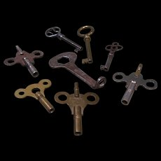 Lot of 8 Old Keys - Cabinet or Drawer, Clock, Roller Skate Keys