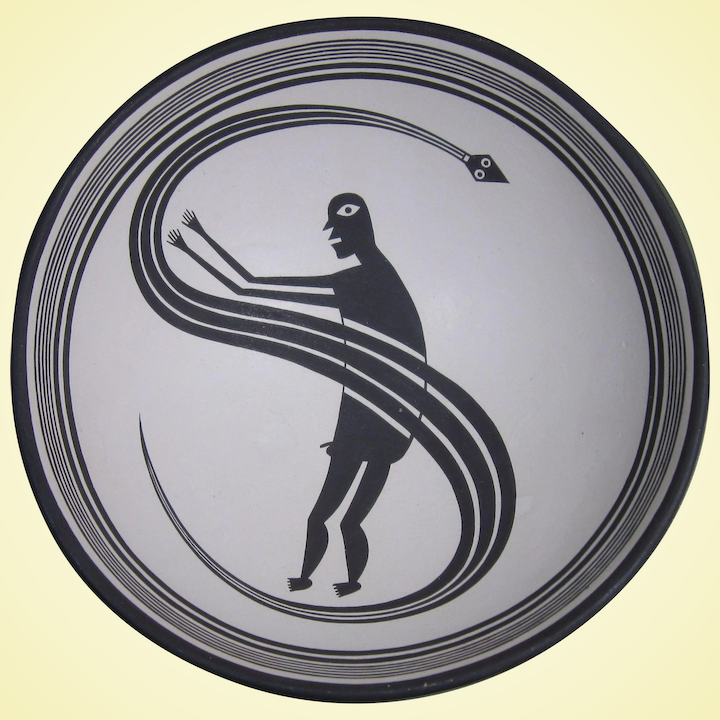 Mimbres Style Bowl, Stylized Figures, Signed, Contemporary Reproduction