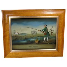 "Reverse Lithograph on Glass, ""The Angler"", Birds Eye Maple Frame"
