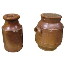 "Two c.1900 Salt Glaze Mini Pots, One Marked ""Depose"", French"