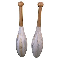 Early 1900s Pair Juggling Clubs, Hollow and Decorated - Harry Lind