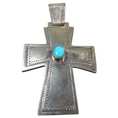 "Vintage Navajo Cross Pendant, Sterling and Turquoise, Marked ""Sterling NS"""