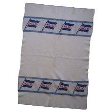"Westfal-Larsen Original circa 1930 Wool Deck Blanket, ""W. L. & Co."" House Flag, 46""x67"""