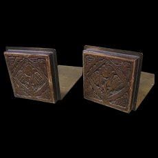 Potter Studio Brass Bookends with Batchelder Tiles, Early 1900s Arts and Crafts