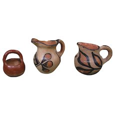 Three Small Pueblo Pottery Pieces - Santo Domingo Pitchers, Basket