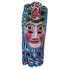 Vintage Carved Wood, Painted Festival Mask, Mexico, Face & Zoomorphic Figures
