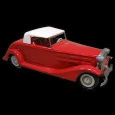Bandai 1933 Cadillac Tinplate Roadster, Red & White, Friction Motor