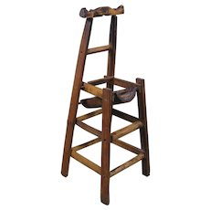 "Japanese Meiji Period Miniature Bamboo ""Chair"", 11 1/4"" Tall"