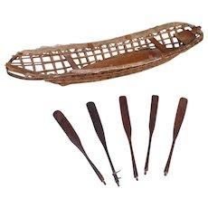 Circa 1900 Eskimo Model Umiak Frame, with Five Paddles