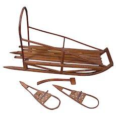 Circa 1900 Model Eskimo Sled, Snowshoes, Axe