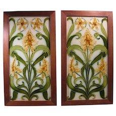 "Early 1900s Pair Pilkington's Tiles, 6""x12"", Art Nouveau, Custom Frames"