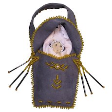 Vintage Native American Doll in Pouch, Beaded Leather