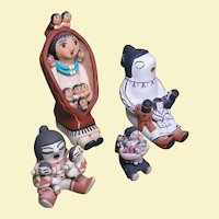 Four Native American Pueblo Storyteller Dolls - Navajo, Cochiti, Jemez